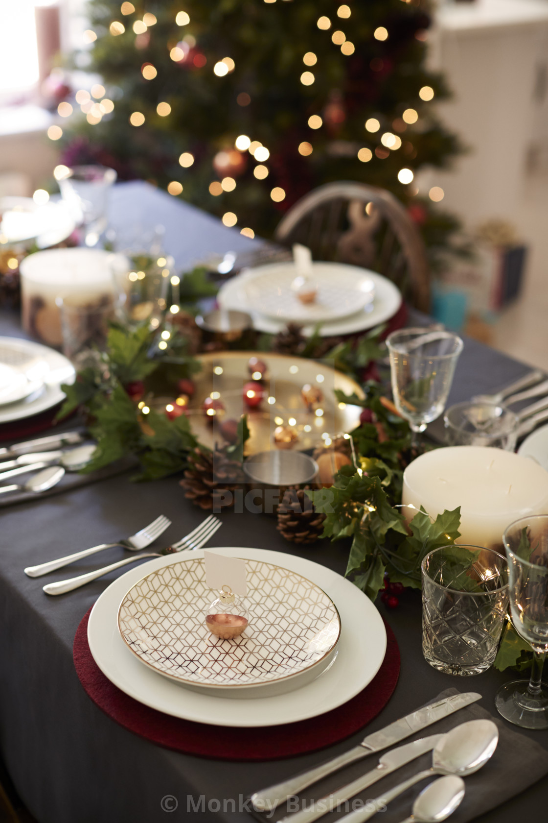 Christmas Table Setting With Bauble Name Card Holder