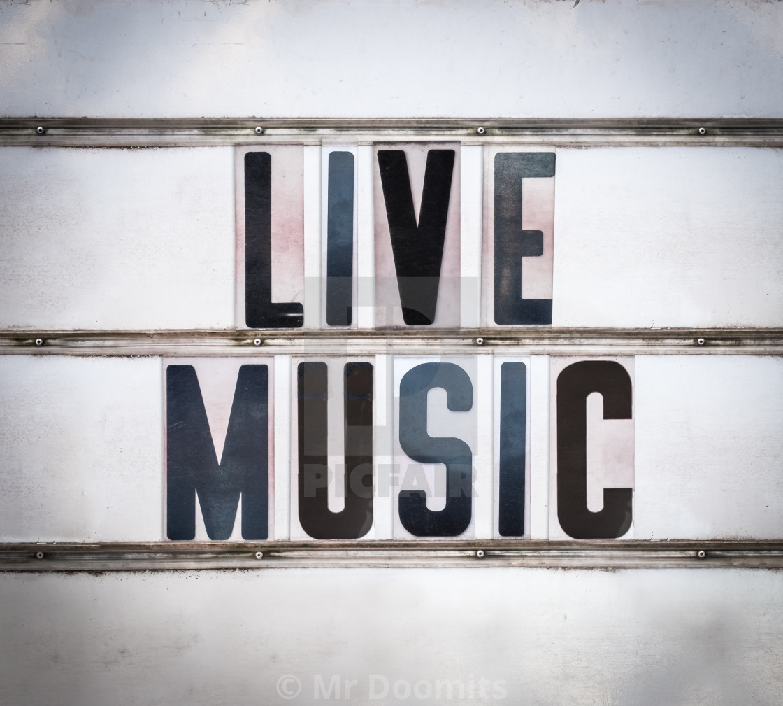 Retro Live Music Sign - License, download or print for
