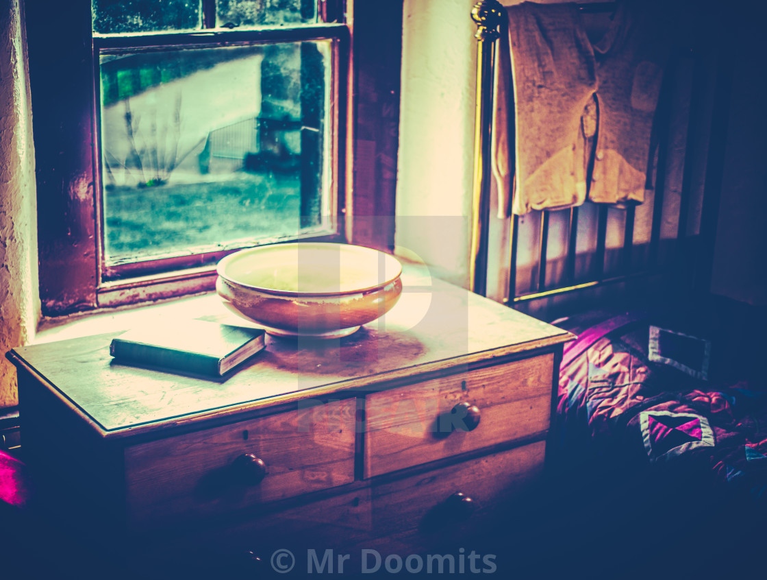 """19th Century Bedroom Scene"" stock image"