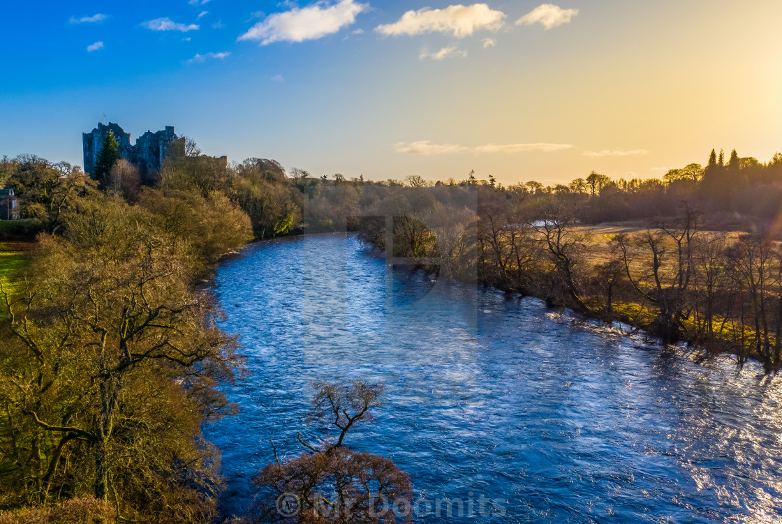 """Scottish River And Castle At Dawn"" stock image"
