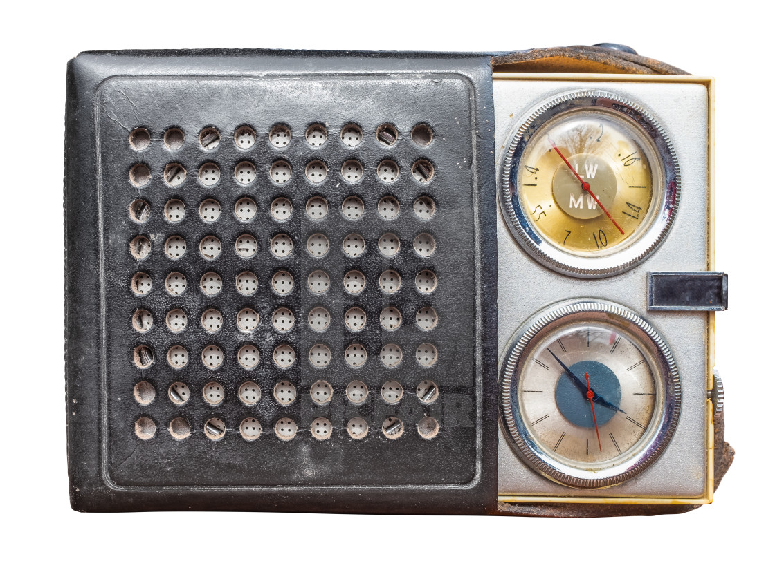 """Isolated Vintage Clock Radio"" stock image"