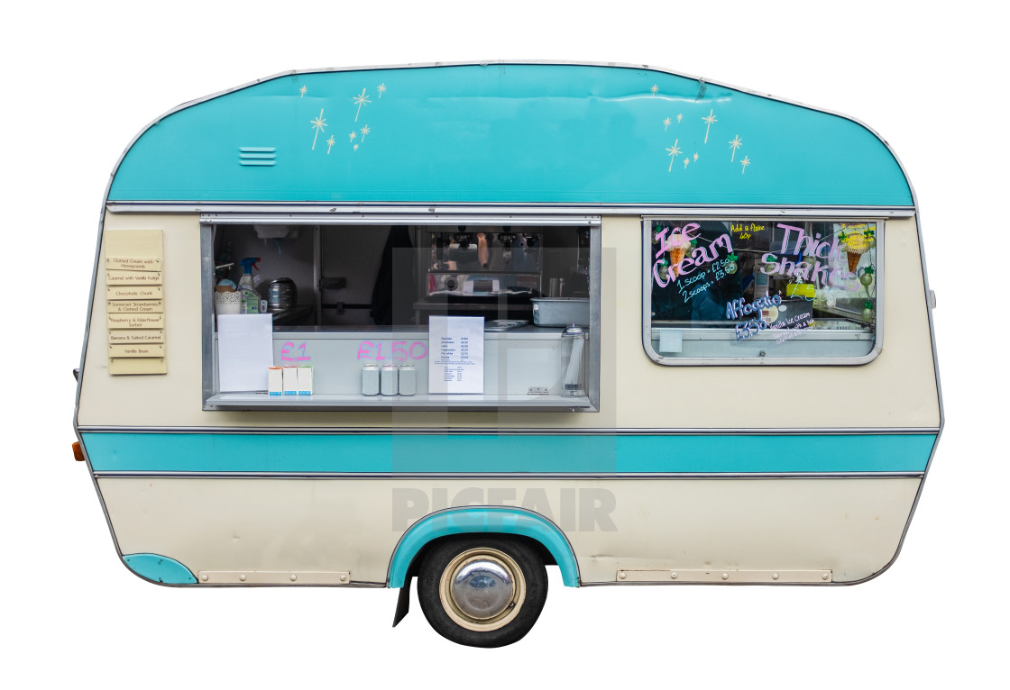 """Retro Vintage Food Truck Or Caravan"" stock image"