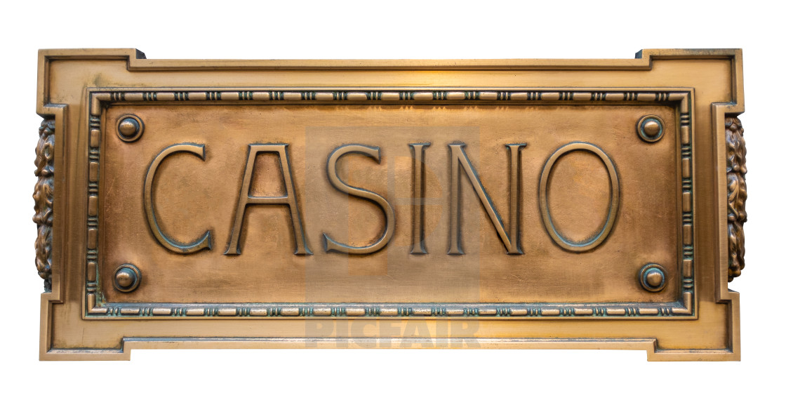 """Ornate Brass Sign For A Casino"" stock image"