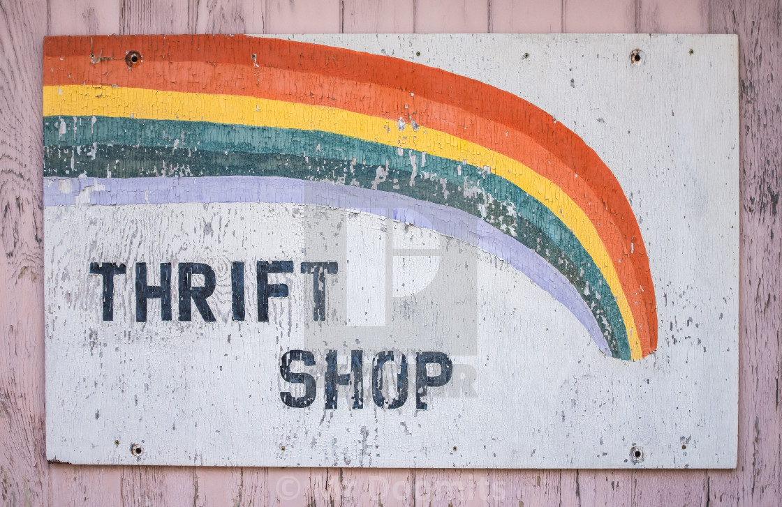 """Grungy Thrift Shop Sign"" stock image"