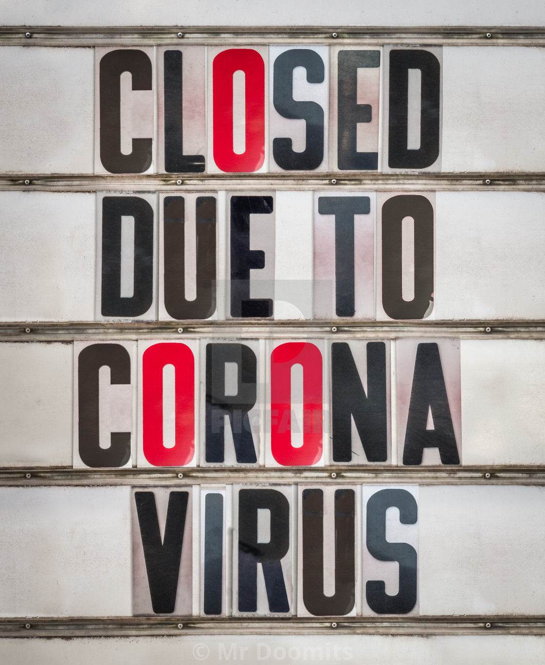 """Closed Due To Coronavirus Sign"" stock image"