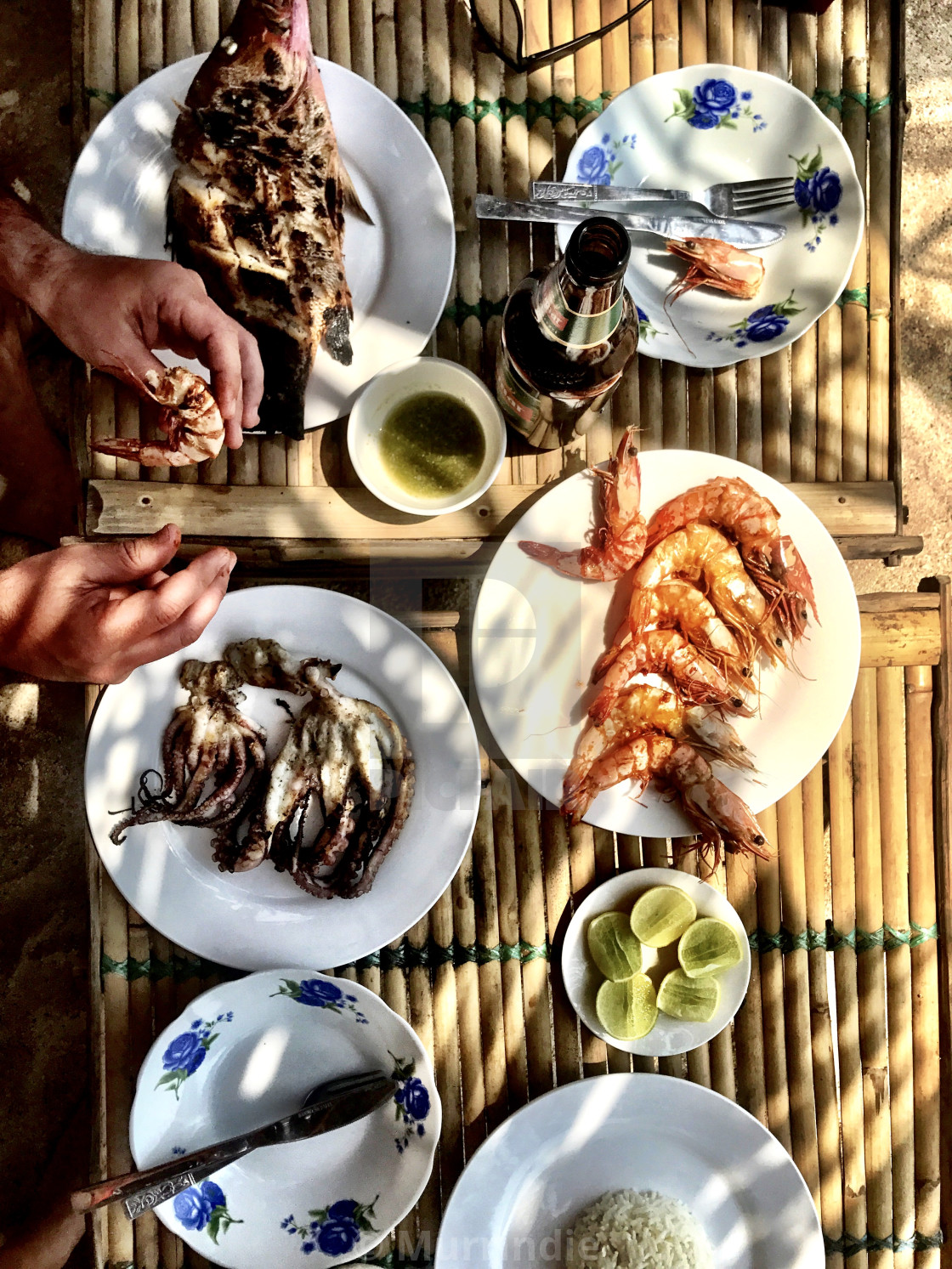 """""""A fish feast in Ngapali, Myanmar"""" stock image"""