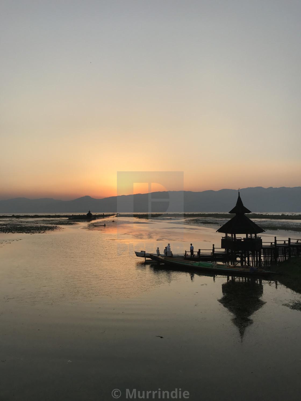 """Sunset over Inle Lake"" stock image"