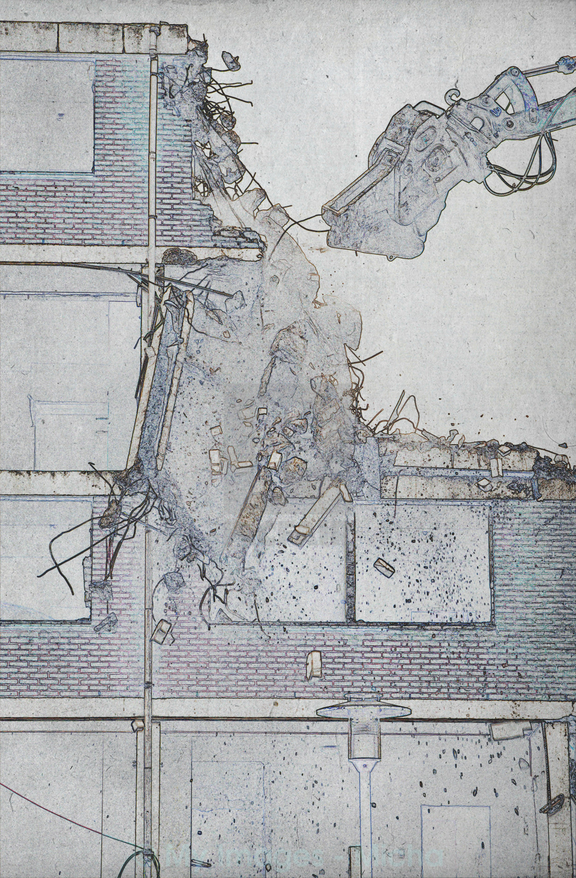 """Drawing of the destruction of a block of flats"" stock image"