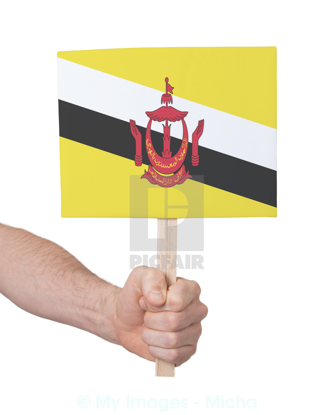 Hand Holding Small Card Flag Of Brunei License For 620 On Picfair
