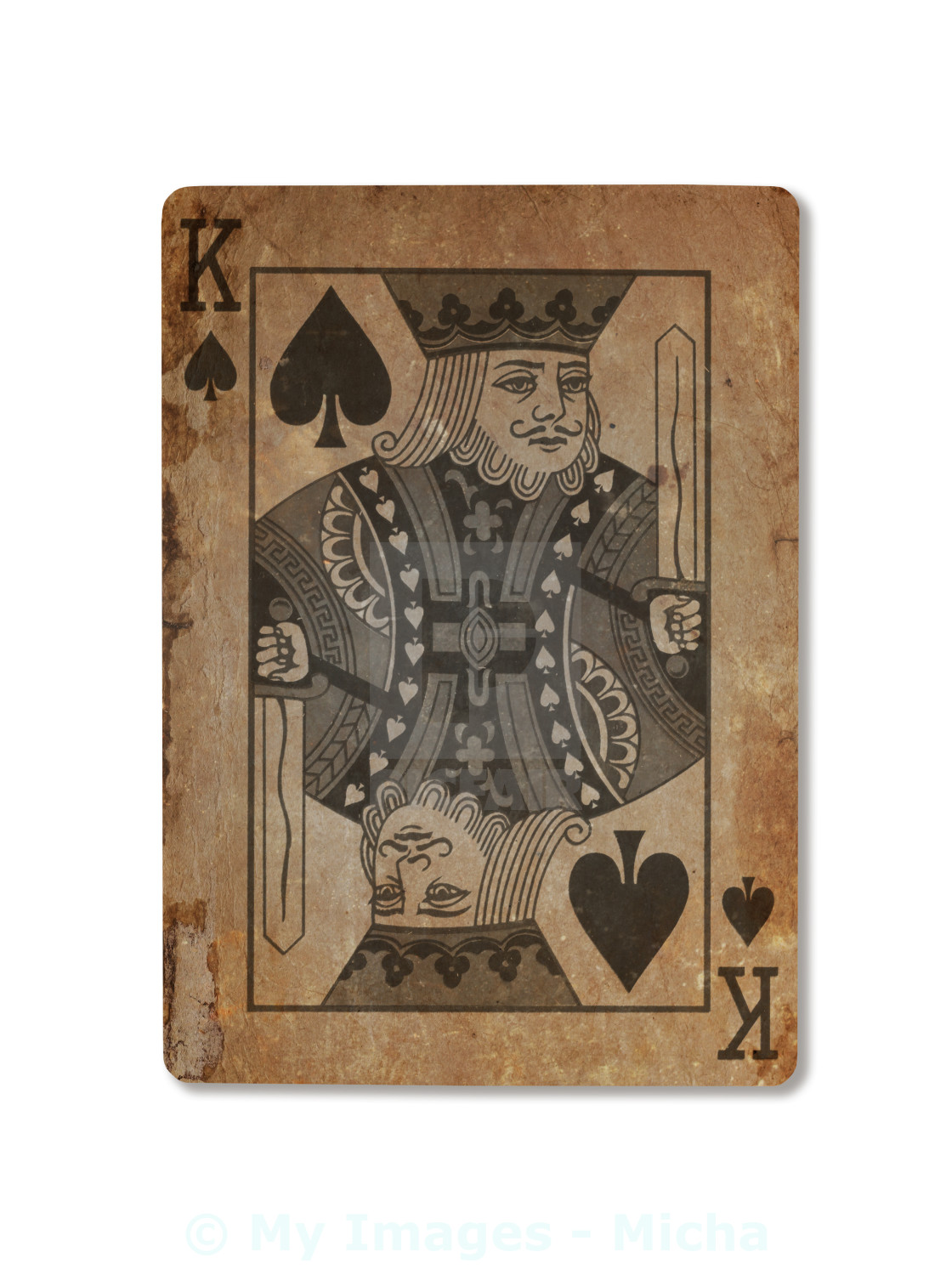 Very Old Playing Card King Of Spades License Download Or Print