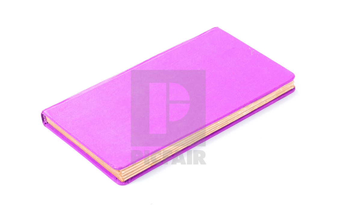 """Closed old purple book isolated"" stock image"
