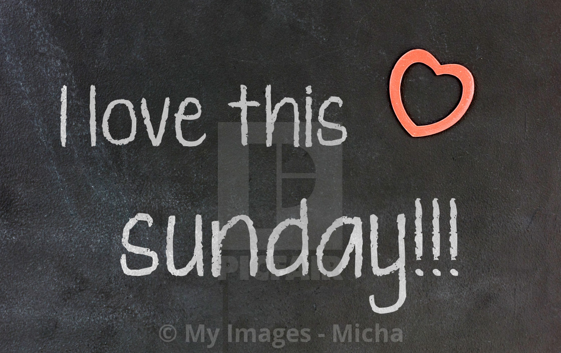 """""""Blackboard with small red heart - I Love this sunday"""" stock image"""
