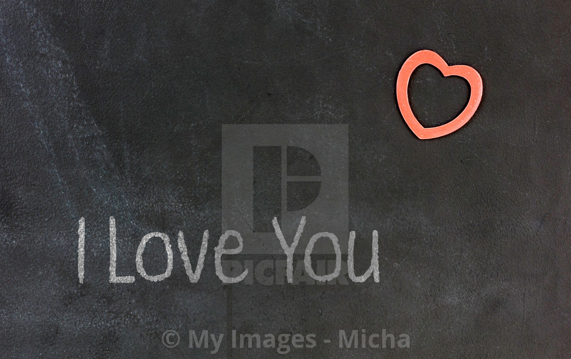 """""""Blackboard with small red heart - I Love you"""" stock image"""