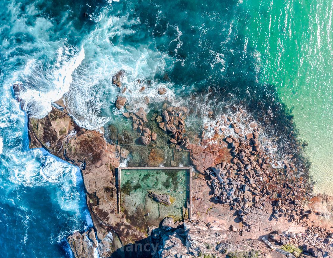 """Sydney aerial Curl Curl rock pool"" stock image"