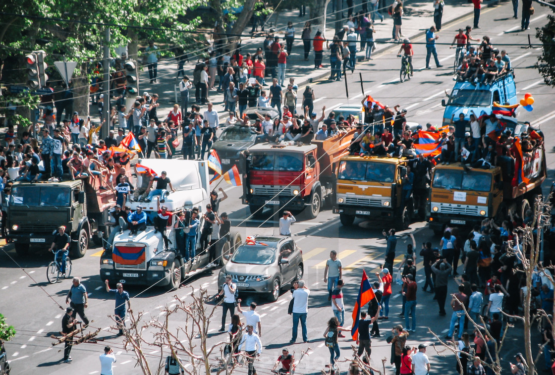 """Peaceful protest with trucks blocking the road"" stock image"