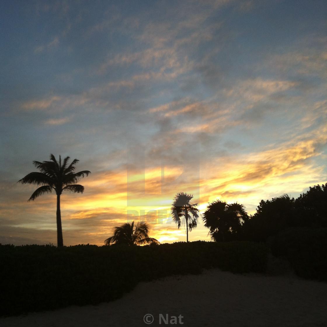 """Sunset in Mayakoba"" stock image"