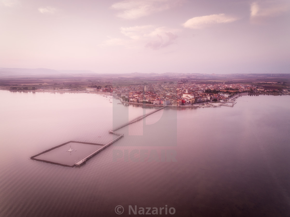 """Lesina and its lake. Aerial view"" stock image"