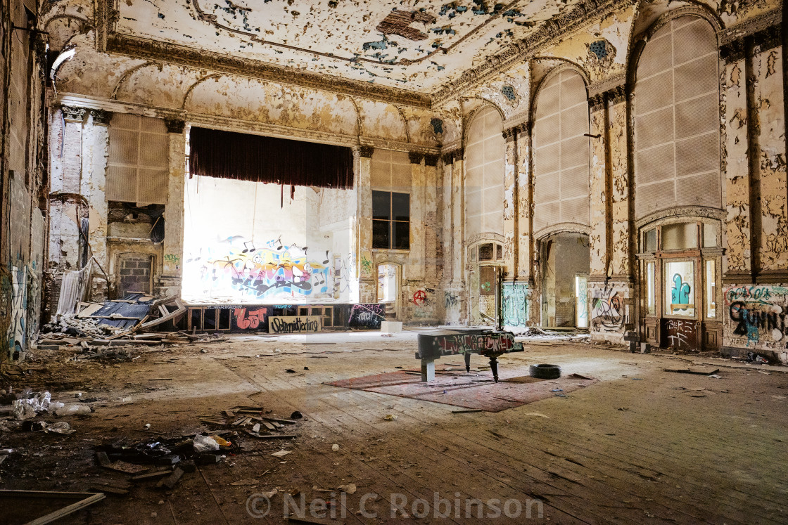 """An empty abandoned ballroom in Berlin."" stock image"