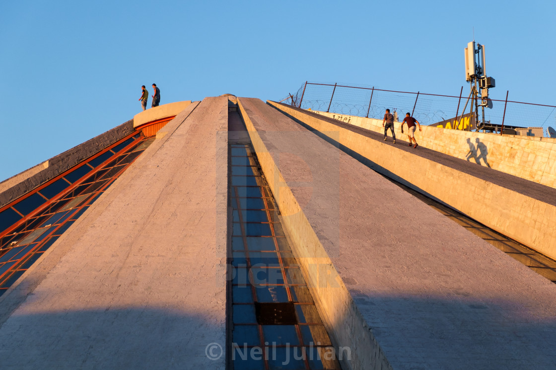 """Sunset at the Pyramid of Tirana, Albania"" stock image"