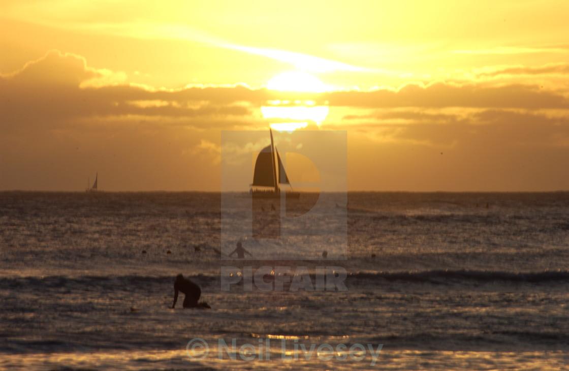 """Sunset Hawaii"" stock image"