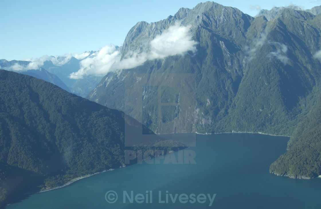 """""""Milford Sound from above"""" stock image"""
