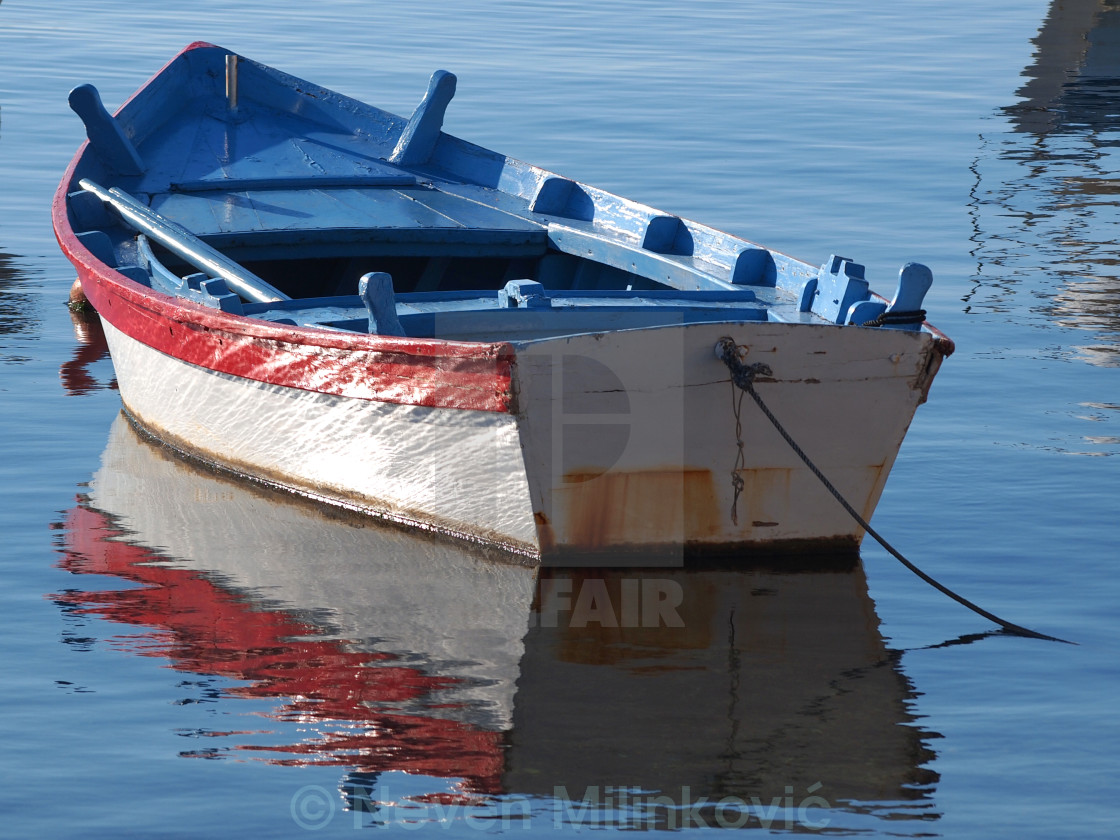 """blue fishing boat"" stock image"