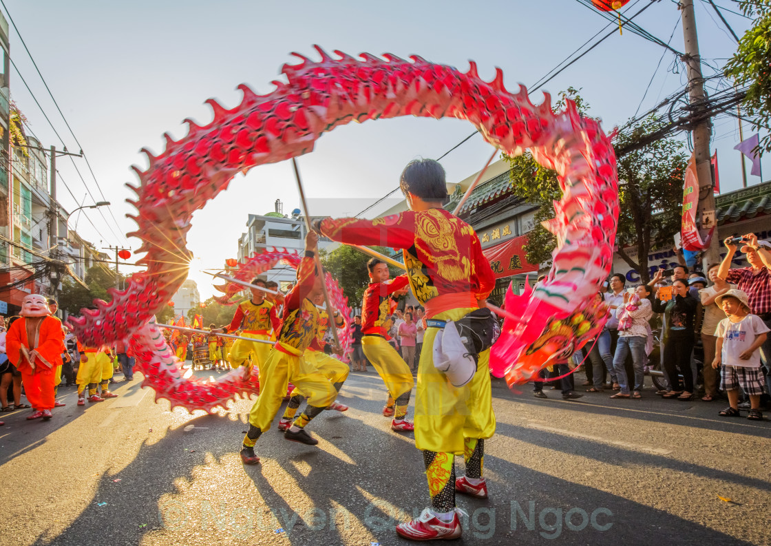 """Dragons Dance on The First Full Moon Day of Year"" stock image"