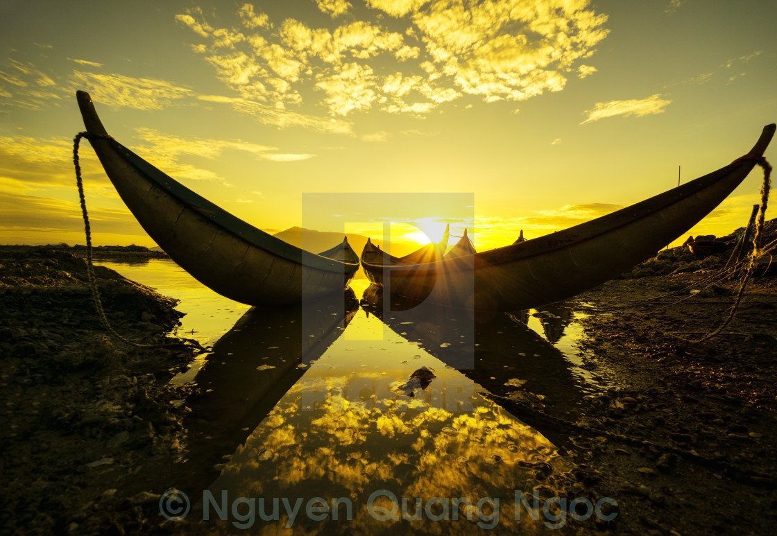 """Sunrise like a gold on water"" stock image"