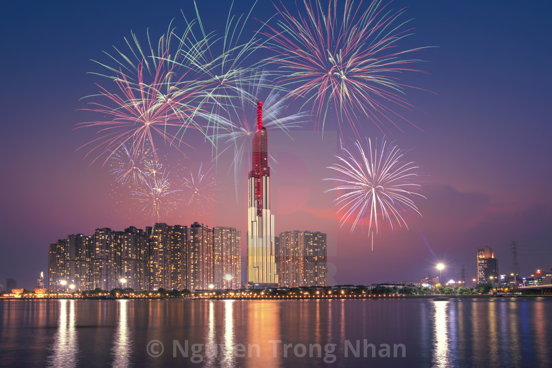 beautiful fireworks on Saigon river side in Ho Chi Minh city
