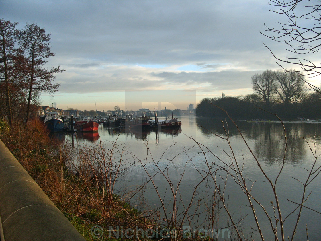 """Morning at Chiswick Pier"" stock image"
