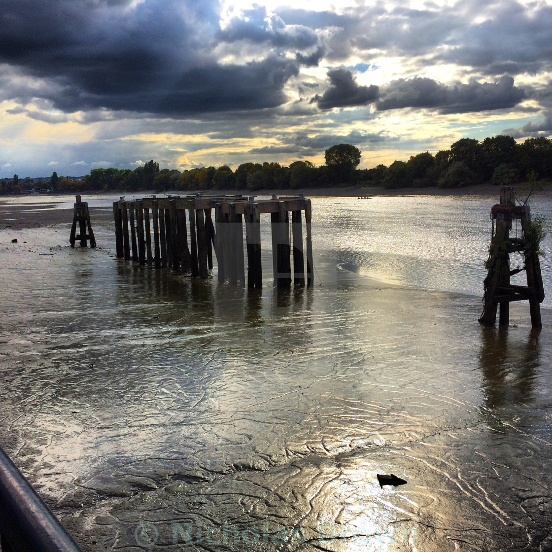 """Low tide on the river"" stock image"