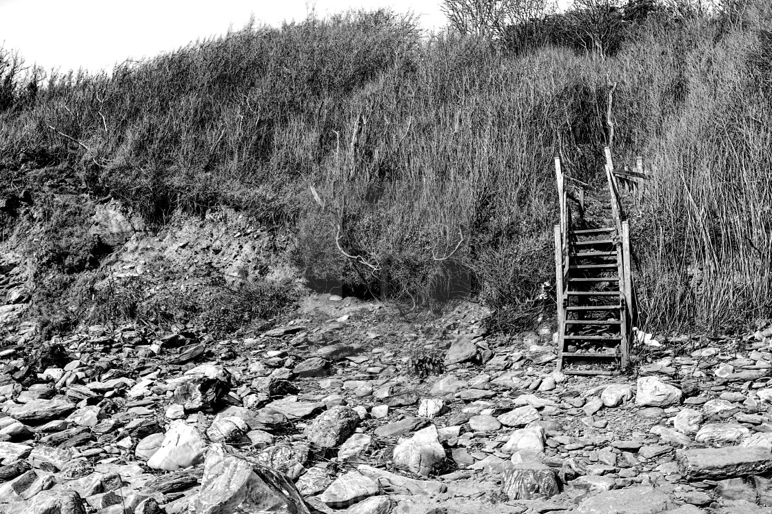 """""""Black and white beach steps, wooden rotten"""" stock image"""