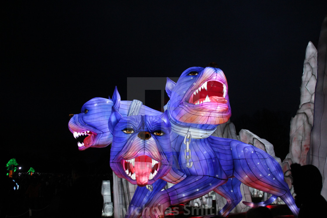 """Fluffy - three headed dog mythical beast - longleat"" stock image"