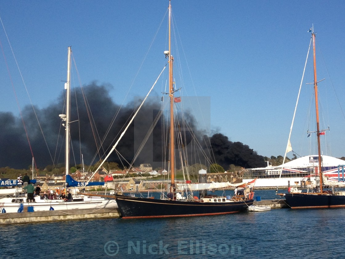 """""""Cowes on Fire"""" stock image"""