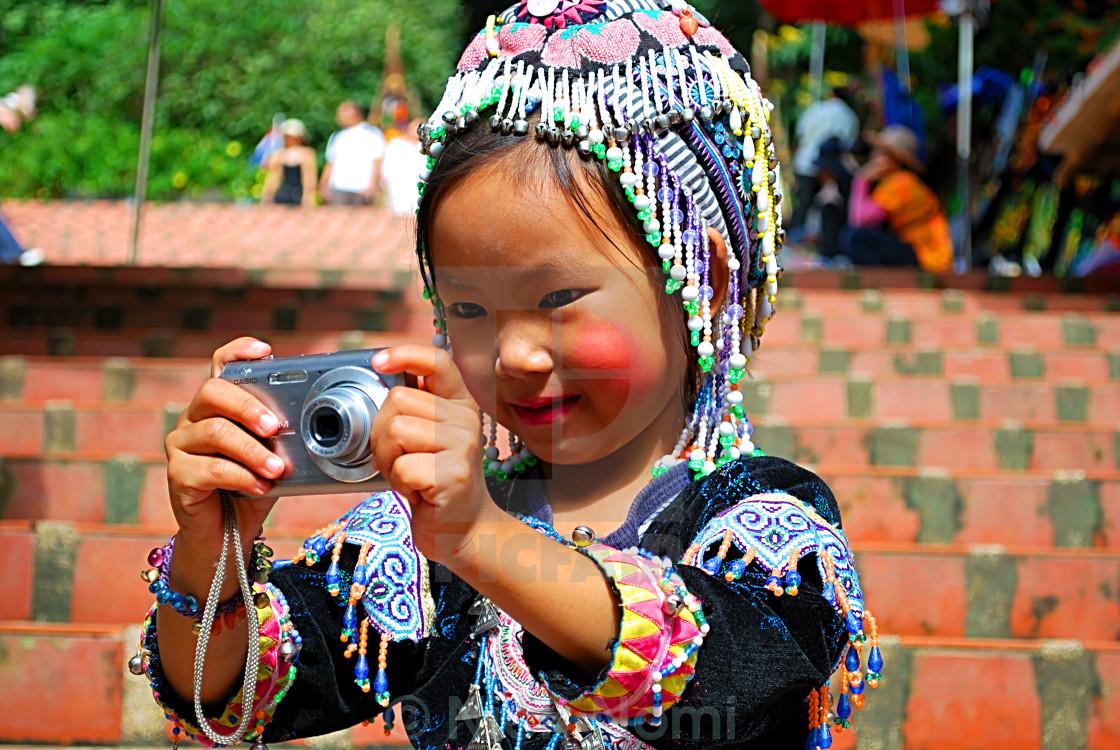 """Hill Tribe Girl At Doi Sutthep, Chiang Mai, Thailand"" stock image"