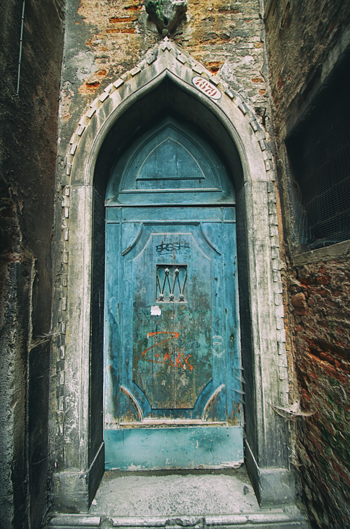 """A Blue Door in Venice"" stock image"