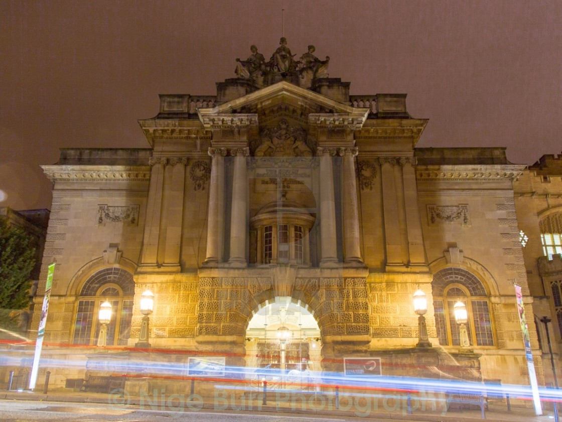 """""""Bristol Museum with light steaks"""" stock image"""