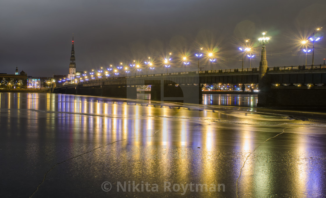 """Illuminated Daugava In Riga"" stock image"
