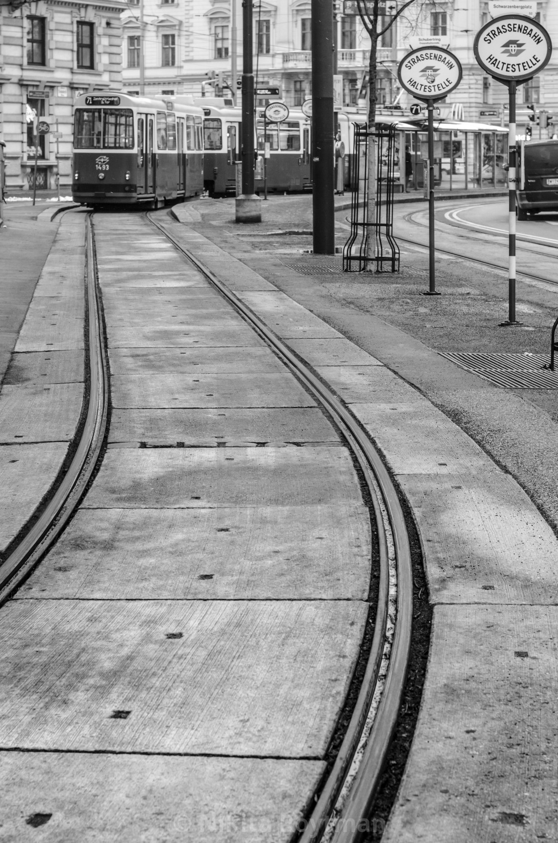 """""""Tram station in old Vienna town"""" stock image"""