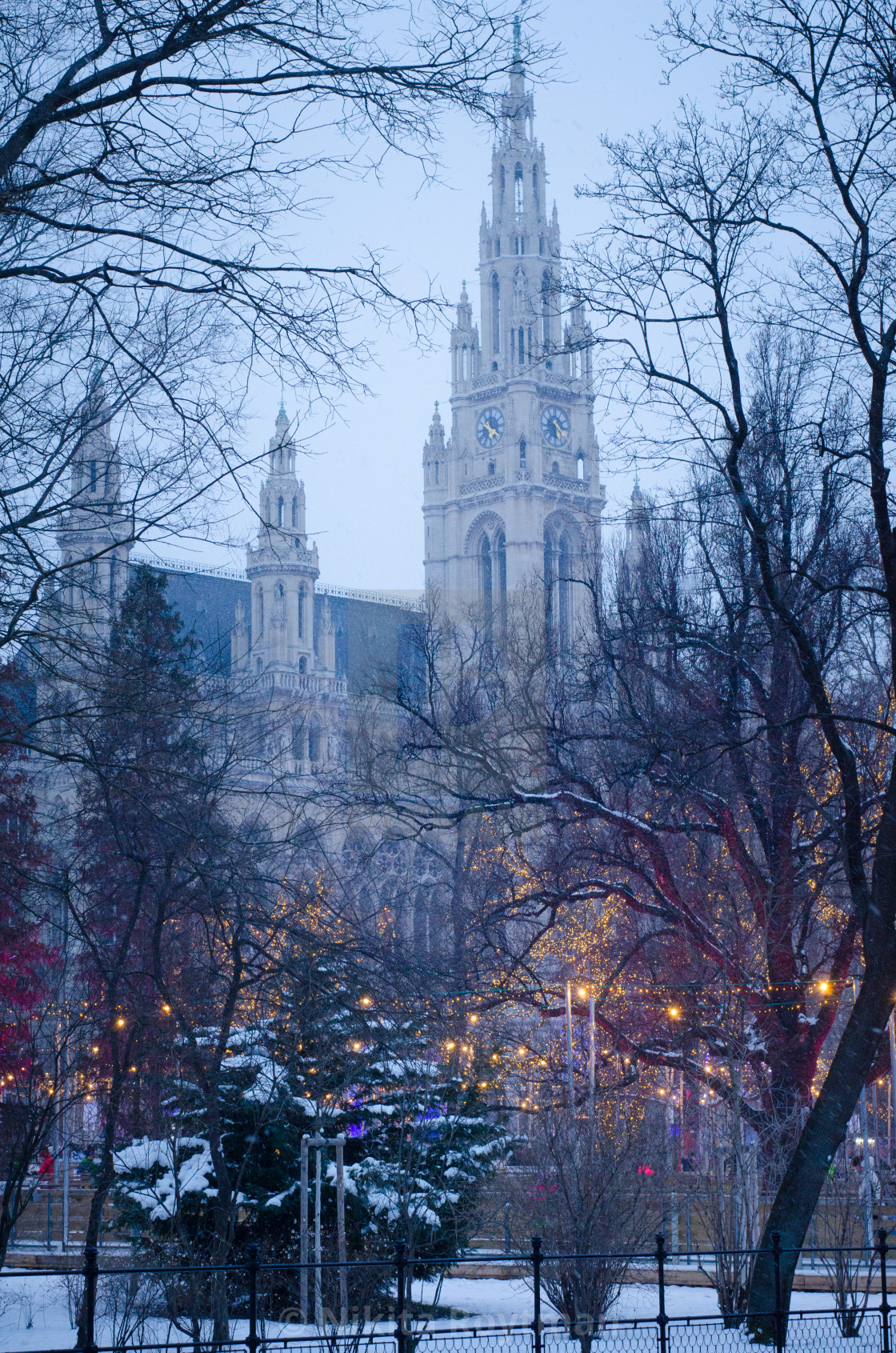 """""""View of the municipal building in Vienna"""" stock image"""