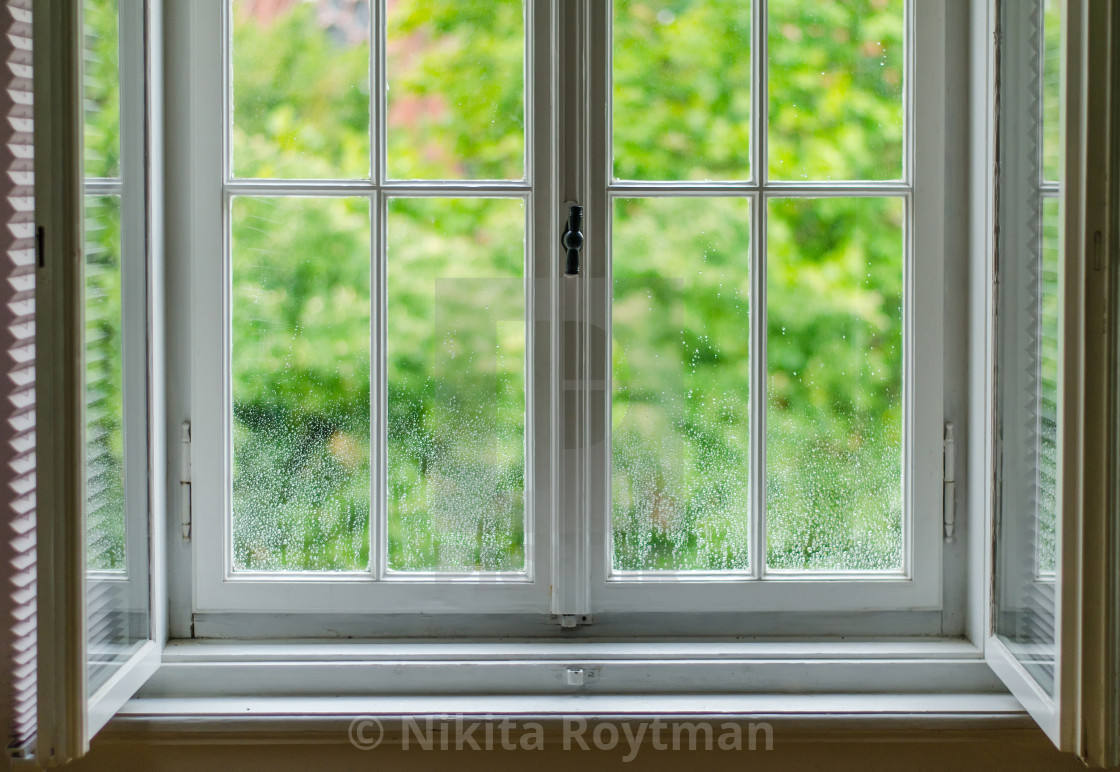 """Window after rain in green"" stock image"