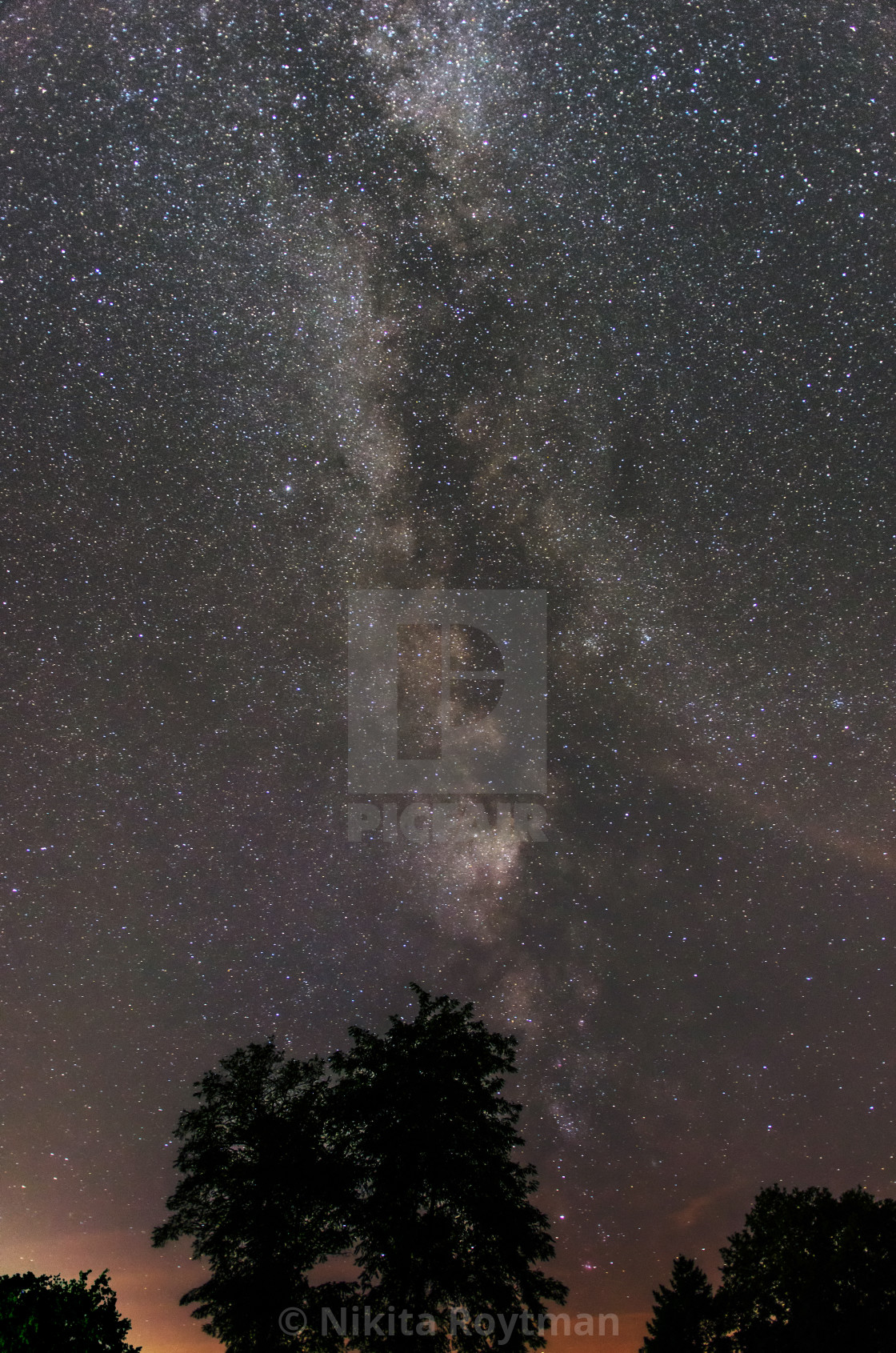 """""""Beautiful starry band of the Milky Way galaxy seemingly growing over a tree silhouette"""" stock image"""