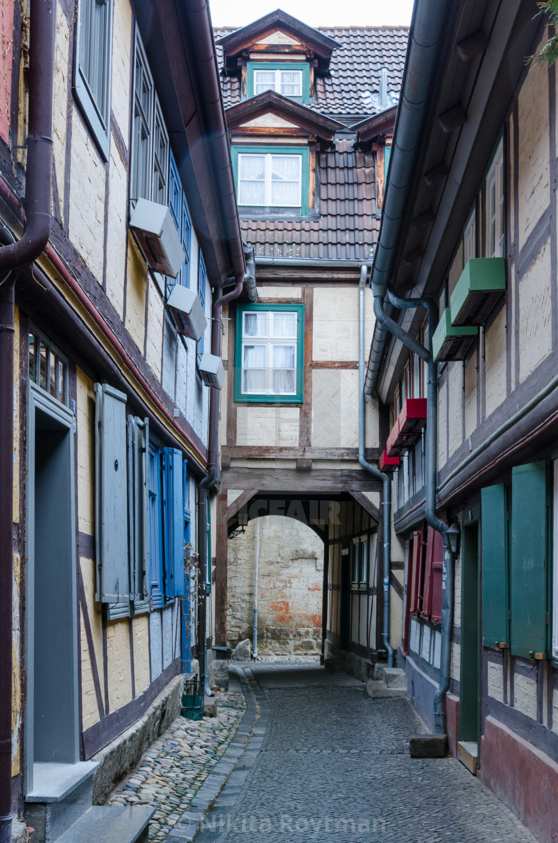 """Narrow Medieval Alley in Quedlinburg"" stock image"