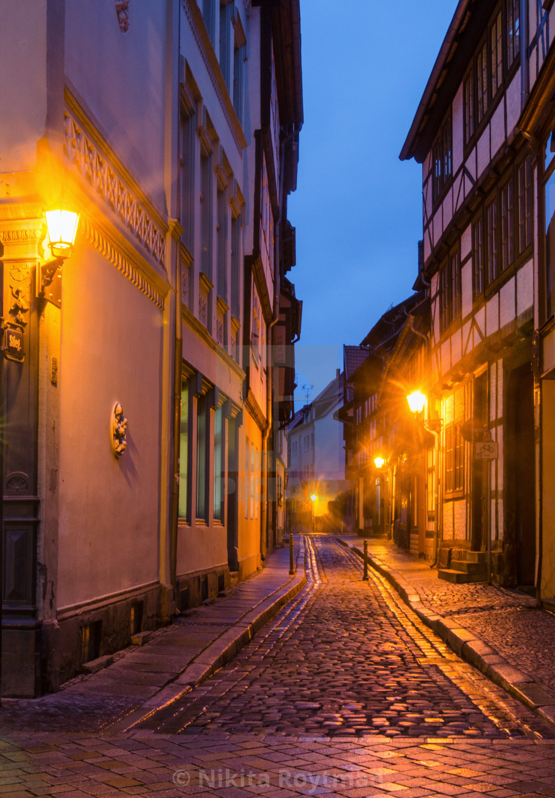 """""""Romantic Mood In The Old Town Of Quedlinburg"""" stock image"""