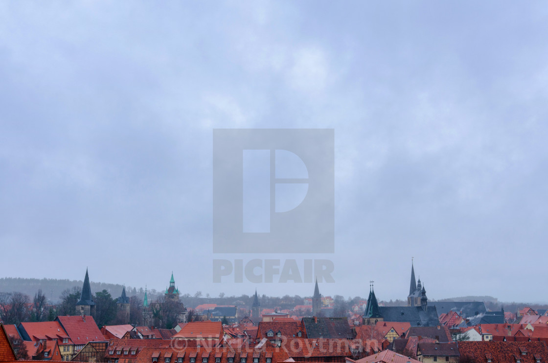 """""""Panorama Of The Old Town Of Quedlinburg In Germany"""" stock image"""