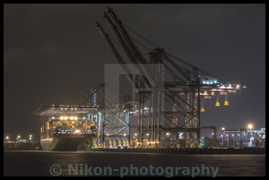 """Dockers at night"" stock image"