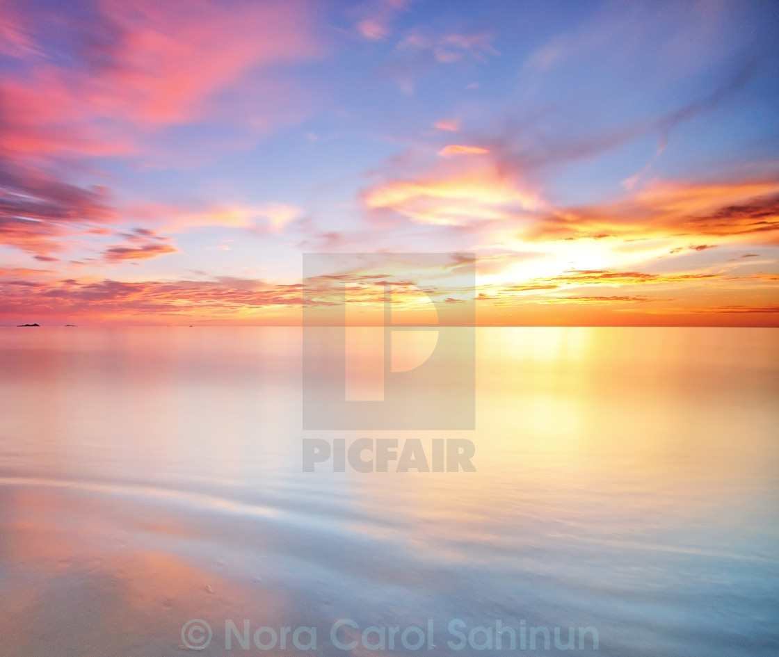 """Background long exposure sunset"" stock image"