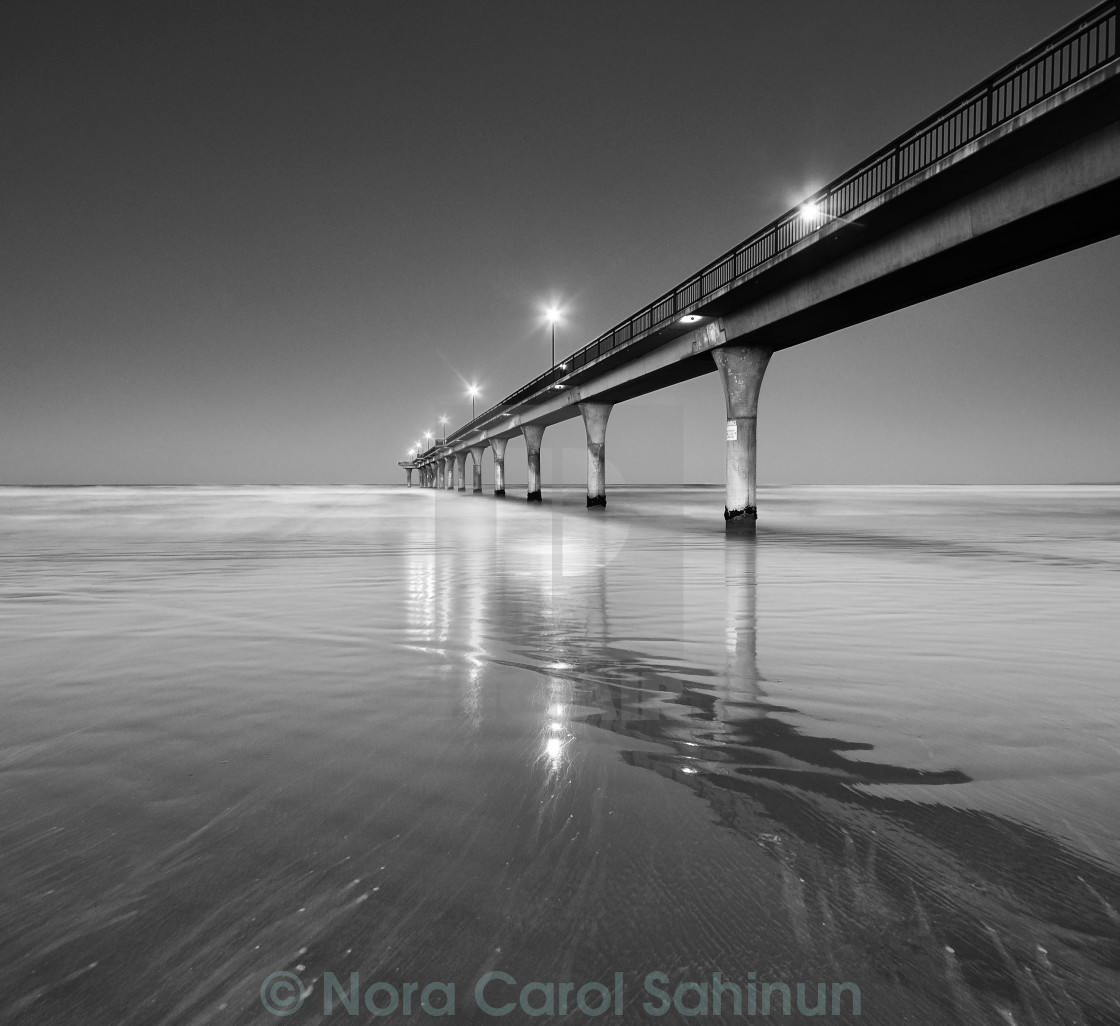 """Black and White Seascape and Pier"" stock image"
