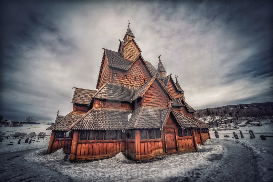 """Heddal stave church"" stock image"