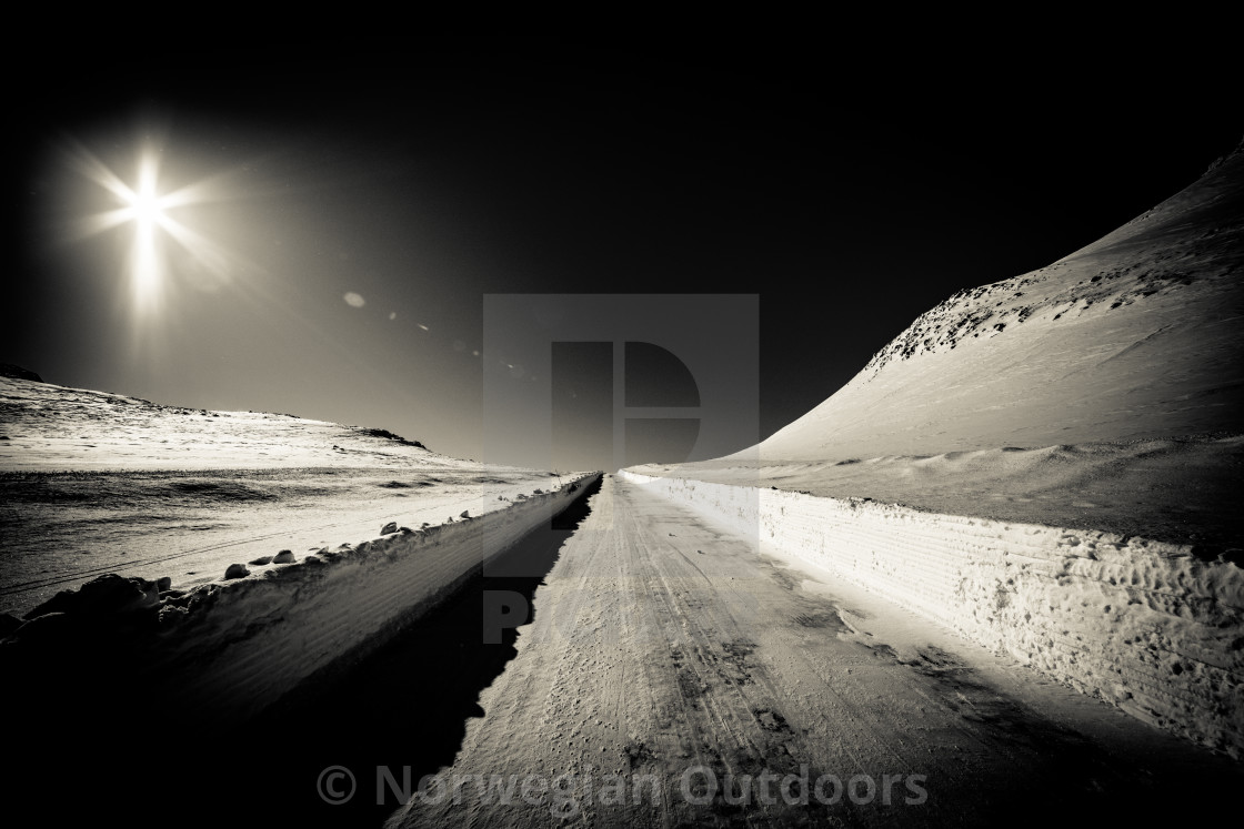 """B&W mountain road"" stock image"